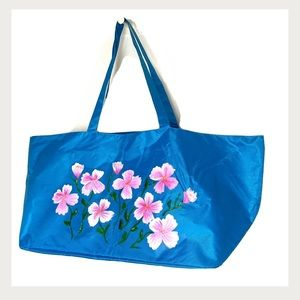 👜 Hand Painted Abstract Floral Extra Large Tote